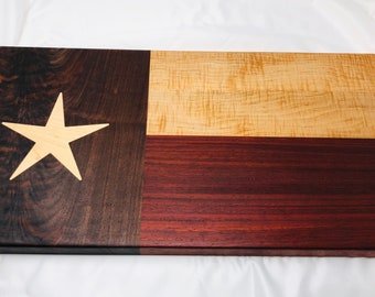 Beautiful Texas Flag Face Grain wood handcrafted Bird's Eye Maple, Paduak Walnut and Maple Star Inlay Cutting board chopping block 1908022