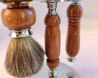 Beautiful 3 Piece custom made mesquite wood topped off with chrome fittings Gillette Fusion razor and brush kit 180075