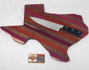 Gorgeous Texas Shaped Handcrafted Exotic wood Purple Heart, Padauk, and Walnut Stripe Edge Grain Cutting Board 199215