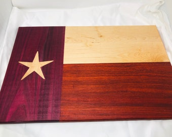 Huge Texas Flag Thick Face Grain wood handcrafted Maple, Padauk, Purple Heart and Maple cutting board 1908028
