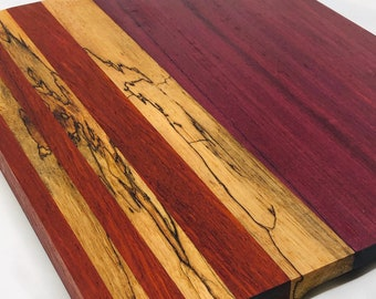 Darling Custom Handcrafted Purple Heart, African Paduak, Spalted Pecan Cutting Board 1910155