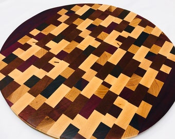 Incredible Large Circle Round End Grain Cutting Board Serving Padauk, Maple, Purple Heart and Hickory Checkered 1911183