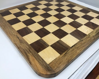 Beautiful Handmade Chessboard Walnut and Maple with Spalted Pecan frame 1907283