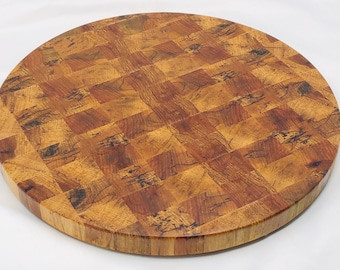 One of a kind Handcrafted End-grain Texas spalted pecan Round cutting board butchers block