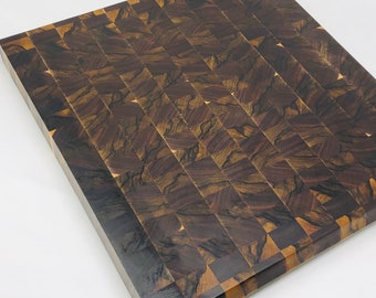Exquisite Extra Large thick End Grain Handcrafted exotic African Black Limba and Walnut Cutting board chopping block