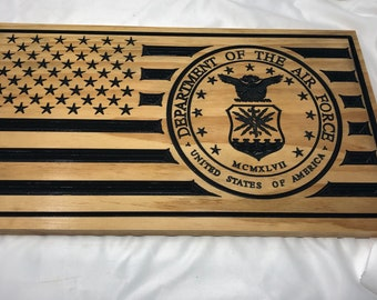 Custom Made US flag with Air Force insignia