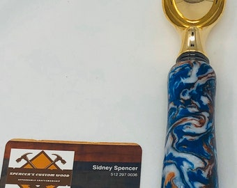 Stunning Custom Acrylic Blue, White & Bronze handle and gold plated stainless steel ice cream scoop 2002054