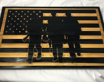 Custom Made US Flag with Military Soilders 2