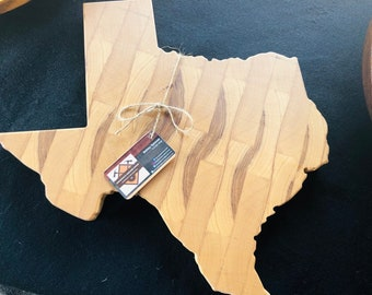 Rustic State of Texas End Grain custom handcrafted Pecan natural design cutting board chopping block 191005