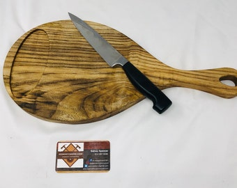 Rustic Face Grain Cutting Board Serving Spalted Hackberry w/ Handle 199217