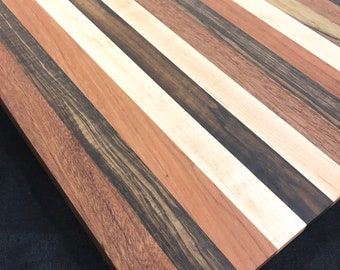 Absolutely Gorgeous Edge Grain Handcrafted Stripe Mahogany, Hickory,Black Limbre Cherry, & Maple Cutting board