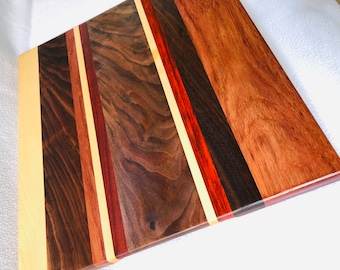 Handcrafted Exotic wood Padauk, Maple and Curly Walnut Cutting Board 181209