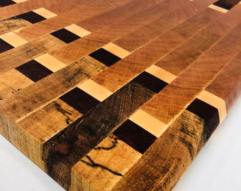 Wow! Custom handcrafted Endgrain Cherry, Maple, Spalted Pecan and Purple Heart Cutting Board Butchers Block 191071