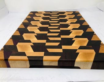 1Stunning 3D Extra Large Thick End Grain Padauk, Cherry, Walnut, Hickory & Mahogany Cutting Board Butchers Block 1906135