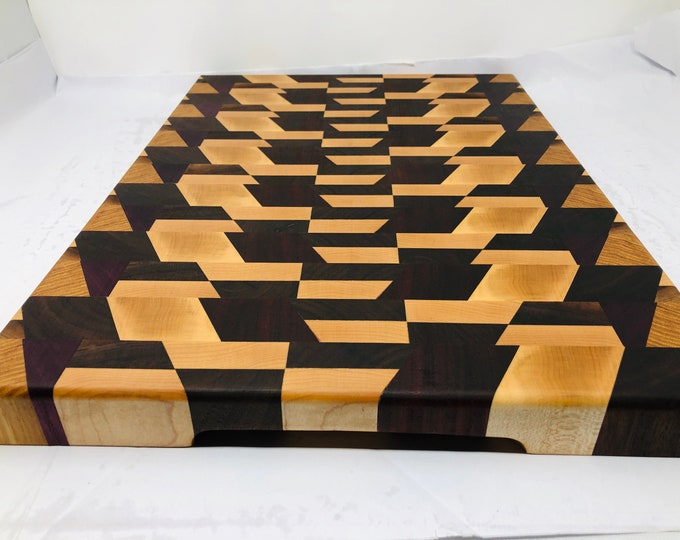 Featured listing image: Stunning 3D Extra Large Thick End Grain custom handcrafted Maple and Mahogany Cutting Board Butchers Block 1906135