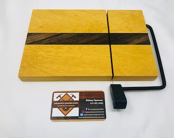 Gorgeous One Of A Kind Handcrafted Face-Grain Yellow Heart & Black Limba Cheeseboard 19107