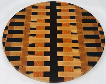 Astonishing End Grain Oval handcrafted Coffee, Cherry, Maple, Walnut, & African Padauk Cutting Board Butchers Block 2002163
