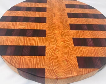 Marvelous Extra Thick End Grain Circle Handcrafted Coffee, Walnut, & Purple Heart Cutting Board Butchers Block 2002161