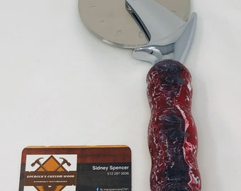 Dramatic custom made acrylic red, white and gray handle and stainless steel Pizza Cutter 2002123