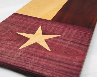 Huge Texas Flag Thick Face Grain wood handcrafted Maple, Padauk, Purple Heart and Maple cutting board 1909303