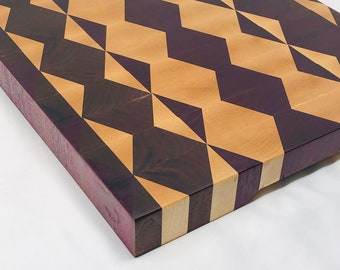 1Stunning Extra Large Thick End Grain custom handcrafted Purple Heart, Walnut and Maple cutting board chopping block 1910147