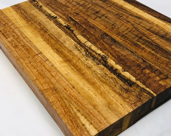 1Absolutely Gorgeous Thick Edge Grain Handcrafted Spalted Curly Red Oak Cutting board butchers block 1910152