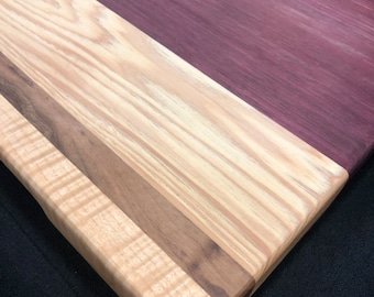 Beautiful cutting board square purple heart, Curly Maple, Pecan and Walnut strip 180010