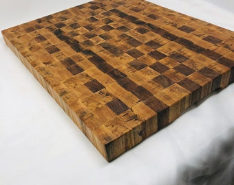 One of a kind extra large Handcrafted End-grain Texas spalted pecan cutting board butchers block 1910141
