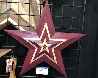 Unique 3D Purple Heart and Maple Texas Lone Star