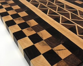 Lovely Large Thick End Grain custom exotic handcrafted Jatoba, Maple, Cherry, & Walnut cutting board butchers block 190114