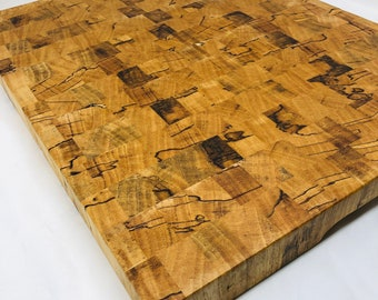 Show Stopping extra large One of a kind Handcrafted End-grain Texas spalted pecan cutting board butchers block 1910140
