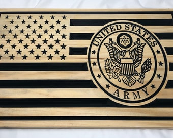 Custom Made US Flag with US Army insignia