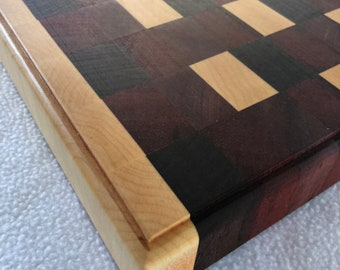 Beautiful Extra Large Thick End Grain custom handcrafted Purple Heart, Maple, Walnut Cutting Board Butchers Block 181104