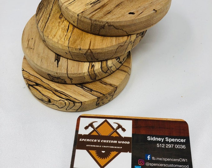Adorable Round Rustic 4 piece coaster set made from Spalted Pecan 1909125