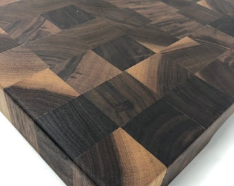 Incredible Thick End Grain custom handcrafted  Black Walnut cutting board chopping block 190902