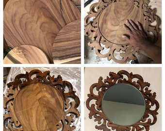 Beautiful Unique Mirror Wall Art Solid Exotic Guanacaste Wood 1904059