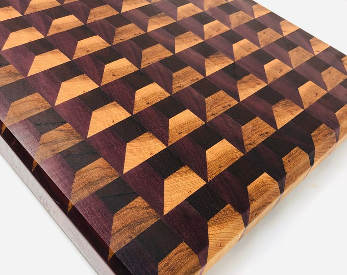 Featured listing image: Gorgeous Ex-Large 3D Box Effect End Grain custom handcrafted Hickory, Walnut, & Purple Heart cutting board chopping block 1911174