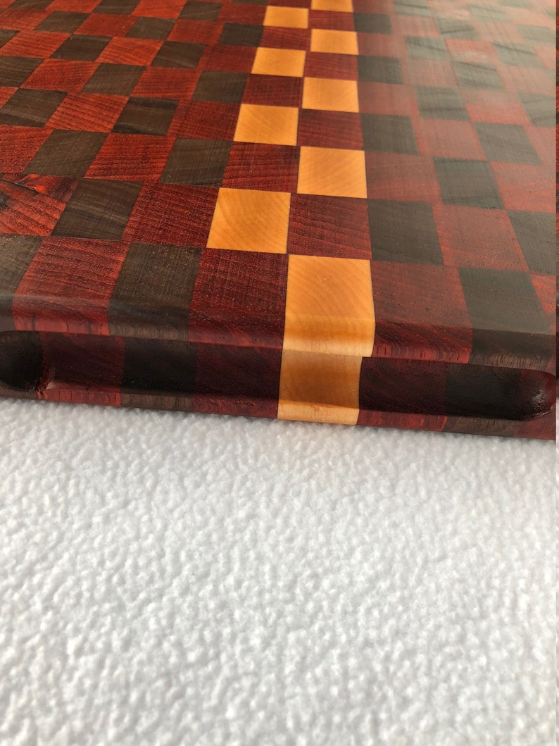 Walnut Maple Cutting Board chopping block 180022 Gorgeous extra Large Thick End Grain custom handcrafted Exotic Padauk