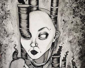 Guilt: a pen& sumi ink original