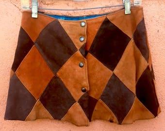 Vintage Suede Harlequin Miniskirt (handmade- 1970's)