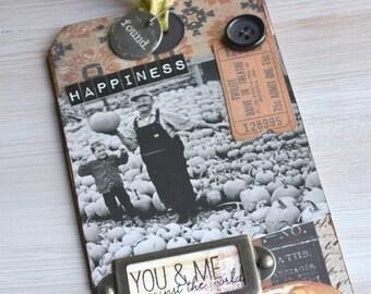 Mixed Media Halloween Keepsake Tag: Happiness Found