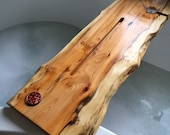 Double Live Edge Solid Yew wood Bespoke Rustic Bath Caddy Tray Tablet Holder Free UK P&P