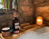 Live Edge Brown Oak wood Bath Caddy Bespoke Rustic Bath Board Tray Tablet Holder Free UK P&P