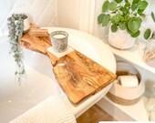 Live Edge Italian Olive wood Bath board Rustic Bath Caddy Tray Tablet Holder Free UK P&P