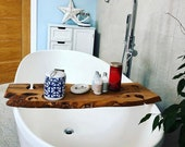 Double Live Edge Solid Olive wood Bespoke Rustic Bath Caddy Tray Tablet Holder Free UK P&P