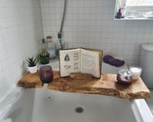 Live Edge Solid Character Rustic Pippy wood Bespoke Rustic Bath Caddy Tray Tablet Holder Free UK P&P