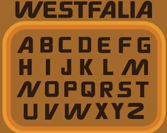 Custom Vinyl Decal in Westfalia Font