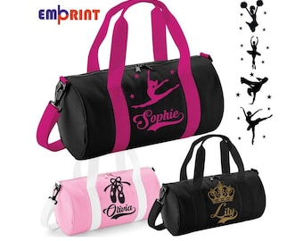f6015ea1d5 Personalised Barrel Dance Bag Girls Kids Womens School Gymnastics Ballet  Holdall