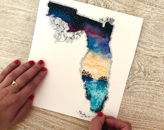 Print of Watercolor Illustration of Florida