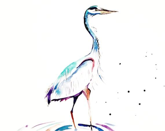 Heron Watercolor Print